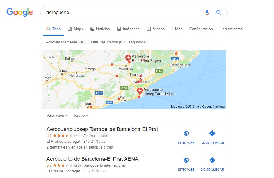 Busqueda aeropuerto SEO Local